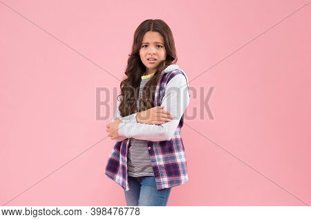 Feeling Cold. Unhappy Child Tremble With Cold. Autumn Fashion. Casual Style. Trendy Streetwear. Low