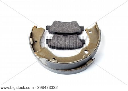 Set Of Rear Brake Pads For Disc Brake And Shoe For Hand Brake, New Spare Parts With Brake Lining Mat