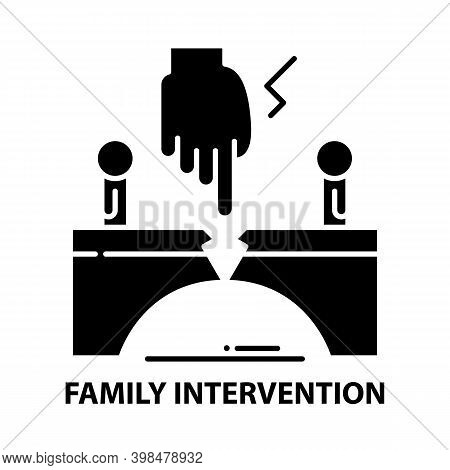Family Intervention Icon, Black Vector Sign With Editable Strokes, Concept Illustration