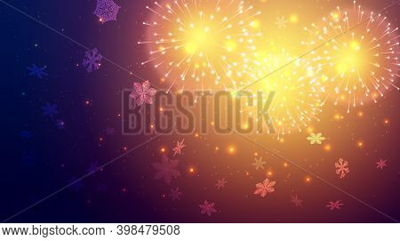 Festive Fireworks. Colorful Firework On Blue Background. Multicolored Explosion. Christmas Or New Ye