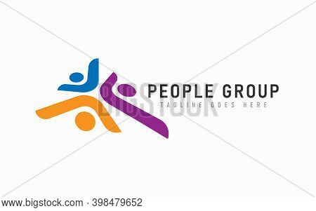 Abstract People Group Logo Design. Modern Social Group Colorful Logo Design Usable For Business, Fou