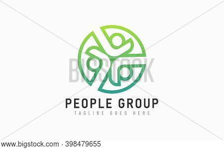 Abstract Circle Green People Group Logo Design. Modern Social Group Logo Design Usable For Business,