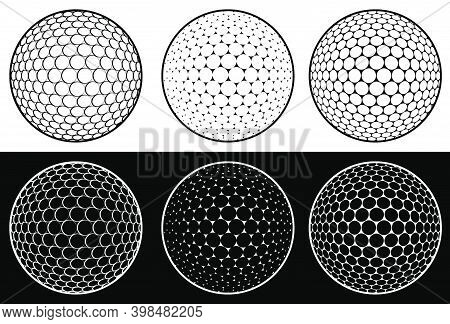 Icon Set, Sport Ball For Golf On White Background. Golf Equipment. Isolated Vector