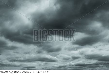 Gray And White Fluffy Clouds. Cloudy Sky. White And Gray Texture Background For Sad, Death, Hopeless