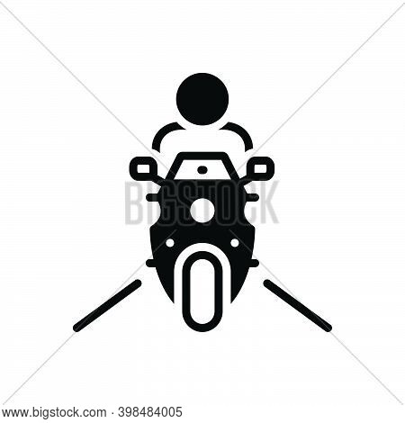Black Solid Icon For Ride Transport Bike Motorcycle Adventure Motorbike Road Drive Excursion Jaunt