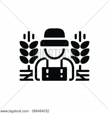Black Solid Icon For Rural Country-man Predial Crops Prolificacy Field Agricultural Farming Agrarian