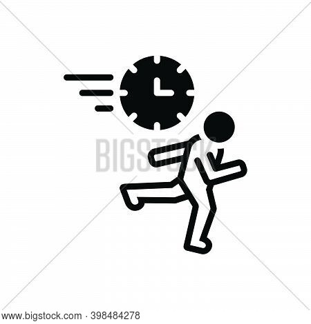 Black Solid Icon For Rush Haste Babel Stampede Run Hurry-scurry Hasten Timeout Quick Urgent