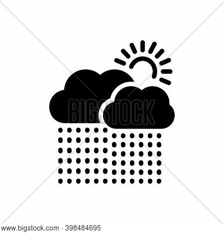 Black Solid Icon For Currently Presently Sun Weather Cloud Rain Heavy-rainfall Downpour Disaster Mon