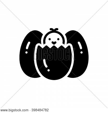 Black Solid Icon For Existing In-existence Present Alive Easter Egg Eggshell Bird Break Animal Baby