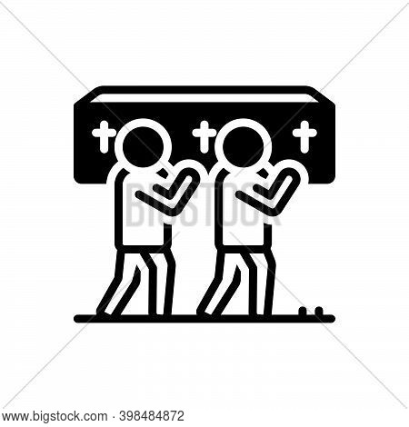 Black Solid Icon For Funeral Carry Coffin Exequies Mourning Requiem Bereaved Graveyard Cemetery Chur