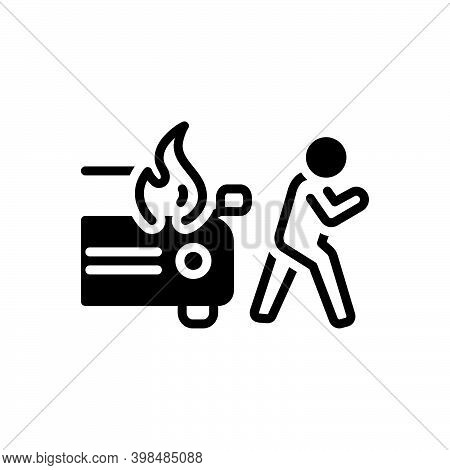 Black Solid Icon For Sudden Unexpected Incident Accident Burning Danger Explosion Extinguish