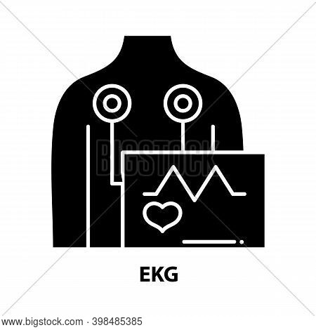 Ekg Icon, Black Vector Sign With Editable Strokes, Concept Illustration