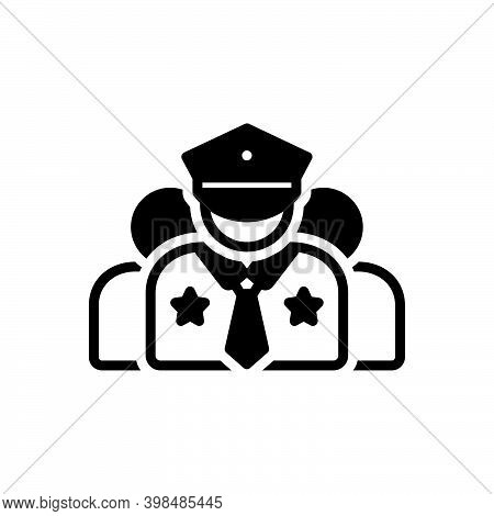 Black Solid Icon For Crew Corps Team Gang Crew-member Captain Commander Police Man Policeman