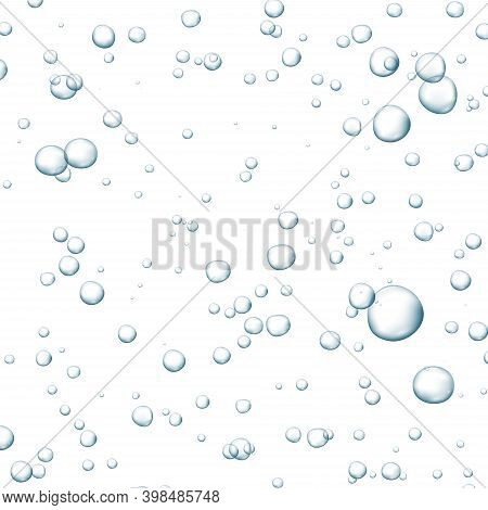 Blue Fizzy Bubbles. Sparkles Underwater Stream In Water, Sea, Aquarium. Fizzy Pop And Effervescent D