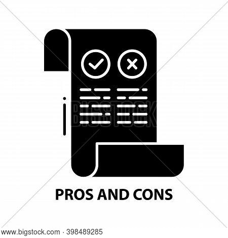 Pros And Cons Icon, Black Vector Sign With Editable Strokes, Concept Illustration