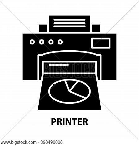 Printer Icon, Black Vector Sign With Editable Strokes, Concept Illustration