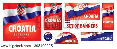 Vector Set Of Banners With The National Flag Of The Croatia