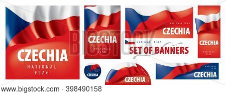 Vector Set Of Banners With The National Flag Of The Czechia
