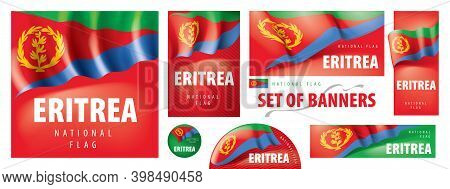 Vector Set Of Banners With The National Flag Of The Eritrea