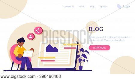 Blog Flat Concept Vector. Social Media Platform, Influencer, Personal Brand Promotion. Recent Storie