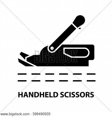 Handheld Scissors Icon, Black Vector Sign With Editable Strokes, Concept Illustration