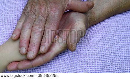 Closeup Hand Palms Of Great Grandchild And Great Grandmother. Diverse Hands Of 5 Year Old Child And