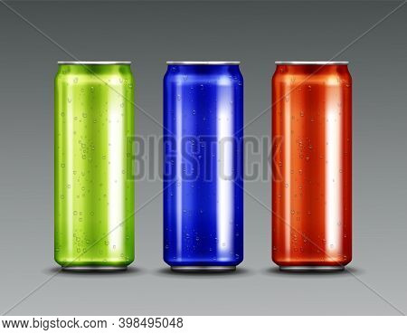 Aluminium Cans With Cold Soda Or Beer And Condensation Water Drops. Vector Realistic Mockup Of Blue,