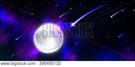 Realistic Moon In Space With Stars And Meteors, Full Luna Earth Satellite, Phoebe Astrology Detailed
