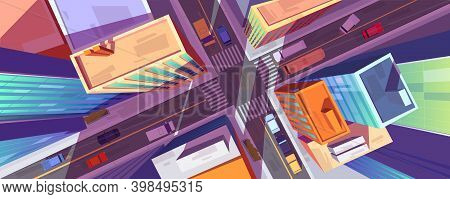 City Street Top View With Buildings, Crossroad And Cars. Urban Architecture And Infrastructure With