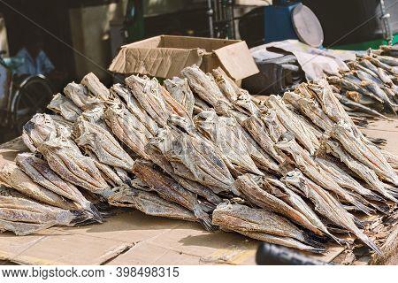 Local Street Market, Dried Salted Fish Stall. Sri Lanka, Weligama.