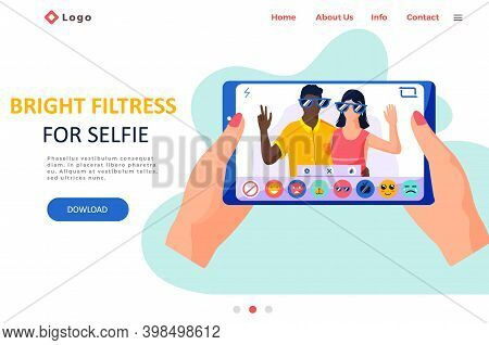 Beauty Filters For Selfie Screen Interface Photo Frame In Social Media Application With A Happy Coup