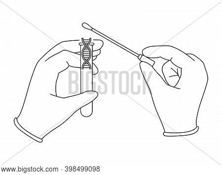 Dna Samples Collection For Pcr Testing Or Gene Research - Hands, Swab Stick And Test Tube In Thin Li