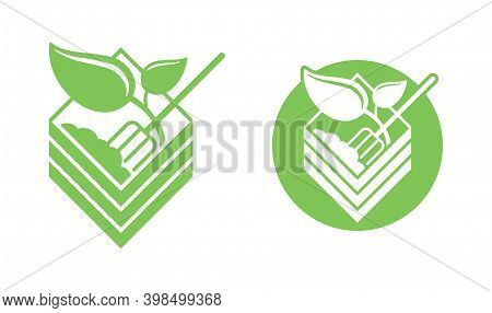 Organic Fertilizer Emblem With Compost Bin - Farming Agriculture Useful Component - Naturally Occurr