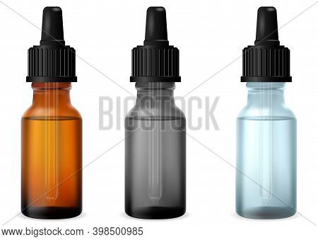 Clear Dropper Bottle. Cosmetic Essential Oil Drop Glass Bottles. Serum Glass Flask Mockup With Pipet