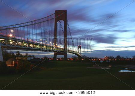Verrazano Narrows Bridge At Sunrise From Staten Island