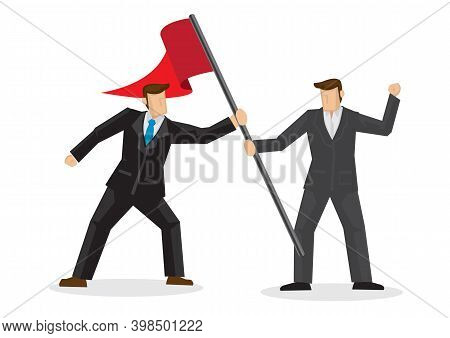Competition And Rivalry Between Two Businessmen Concept Design. Fighting Over A Red Colored Flag. Fl