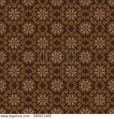 Beautiful Flower Patterns Design On Central Java Batik With Elegant Dark Brown Color Concept.