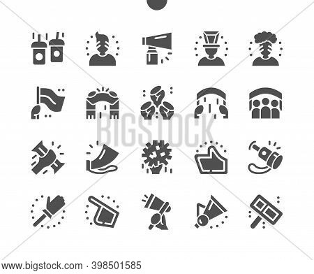Sports Fans. Flags And Confetti. Football Fans. Whistles, Finger, Pipe. Fans Spirit. Vector Solid Ic