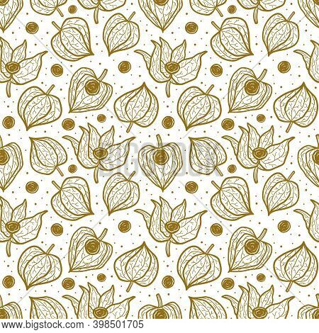 Physalis, Winter Cherry Seamless Pattern, Texture, Background. Floral Packaging Design. Monochrome G