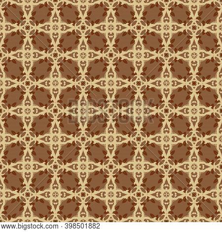 Simple Flower Motifs Design On Parang Batik With Smooth Mocca Color Design.