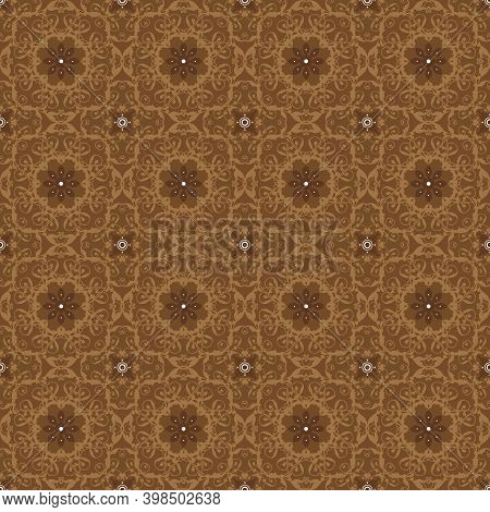 Abstract Pattern On Traditional Java Batik With Seamless Dark Brown Color Design.