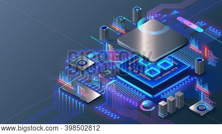 Cpu. Abstract Digital Chip Computer Processor And Electronic Components On Motherboard Or Circuit Bo