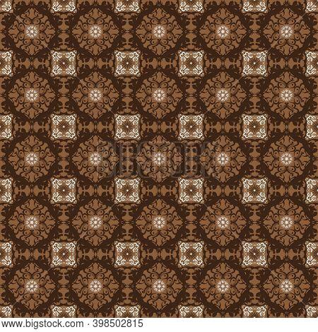 Unique Patterns Design On Fabric Solo Batik With Elegant Dark Brown Color Concept.