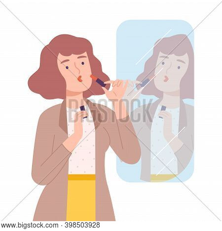 Young Woman Applying Lipstick, Girl Doing Makeup Looking At Herself In Mirror Cartoon Style Vector I