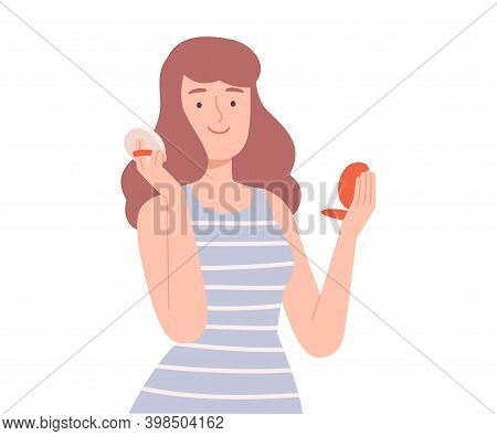 Young Woman Applying Make Up Powder On Her Face, Girl Doing Makeup, Skin Care Routine Cartoon Style