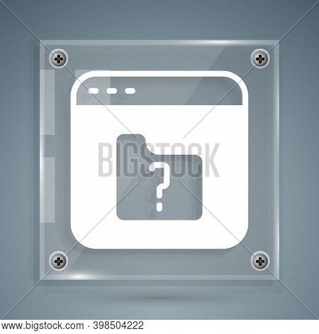 White File Missing Icon Isolated On Grey Background. Square Glass Panels. Vector