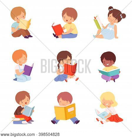 Little Kids Reading Books Set, Cute Boys And Girls Sitting On Floor And Enjoying Reading Of Literatu