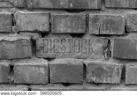 Black And White Ackground Of Old Vintage Brick Wall. Texture Brick Wall