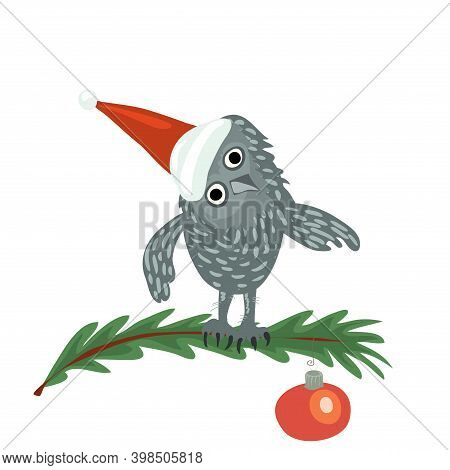 Vector Owl In A Red Cap Sits On A Spruce Branch Decorated With A Red Ball. Christmas Holiday In The