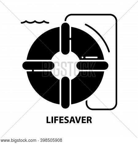 Lifesaver Icon, Black Vector Sign With Editable Strokes, Concept Illustration